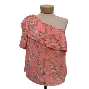 A New Day Layered One Shoulder Floral Blouse S